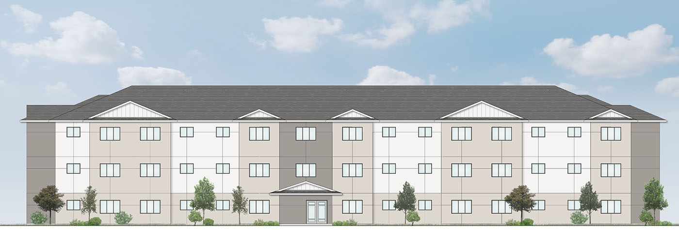 Elevation drawing affordable apartments st mary's winnipeg st. vital